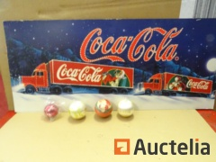1 Cardboard advertising poster Truck, 4 balls Coca-Cola