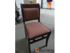 16 wooden Chairs, fabric sitting