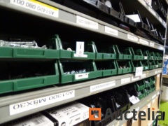 18 bins with screws, washers, pins, electric sugars, Allen screws, cabinet locks, plastic anchors