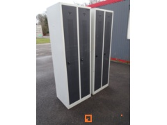 2 metal cabinets with 2 doors