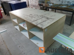 2 wooden workbenches on wheels