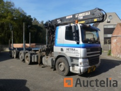 DAF AN85XE-HE9 Truck with extendable trailer and crane  (2006-784,484 km)