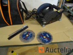 Double-blade concrete Biscuit joiner in a FERM WSM1008 bag