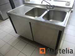 Double stainless steel sink on cupboard with 2 sliding doors