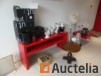 Glasses various, decorations, wooden coffee table, melamine tabels