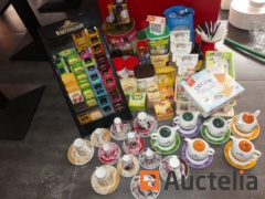 Spices, teas, coffee cups and tea pots