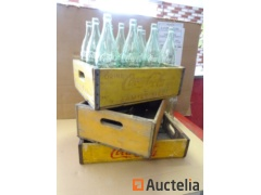 Wooden Bin with 12 bottles collection, 2 bins empty Coca-Cola Wood